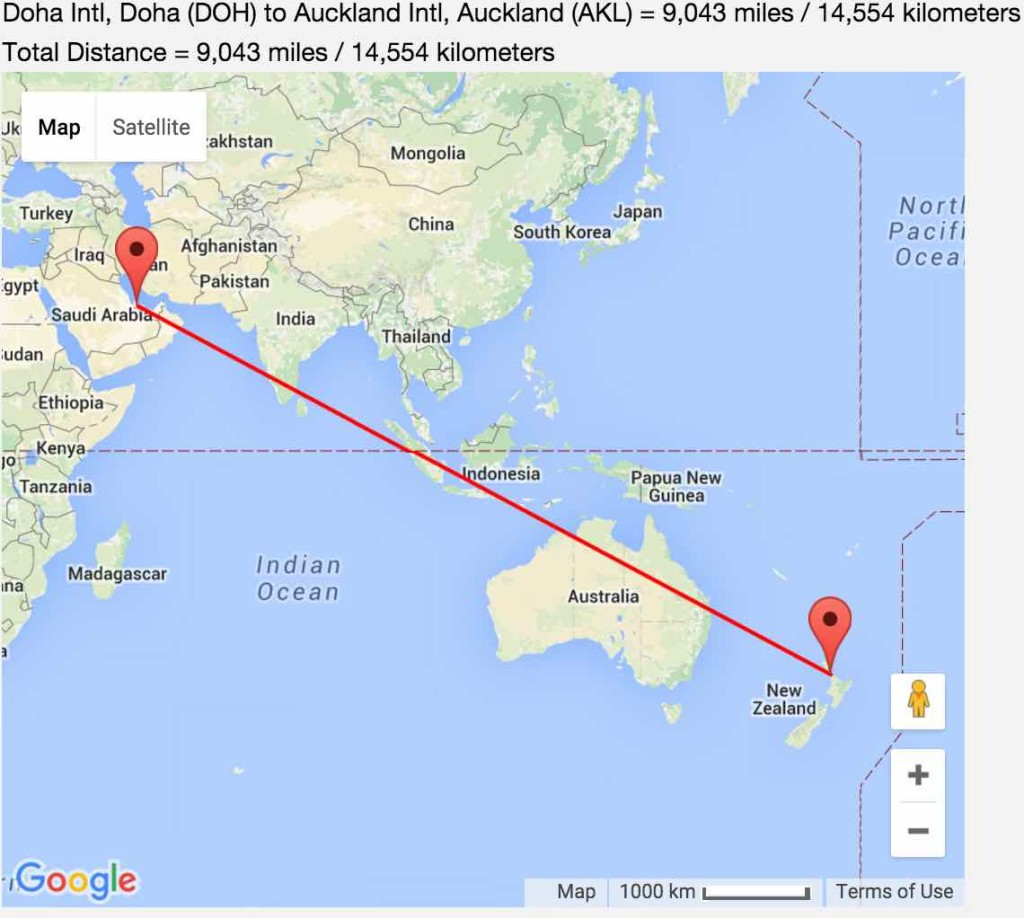 Doha to Auckland