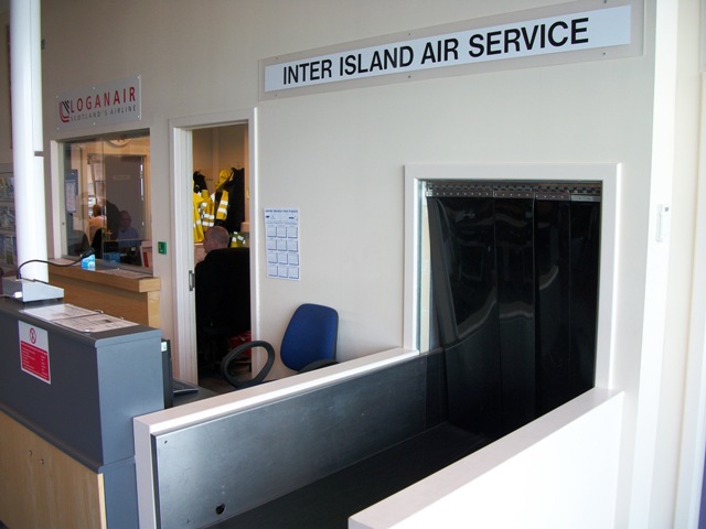 Loganair Ticket counter in Kirkwall, Scotland