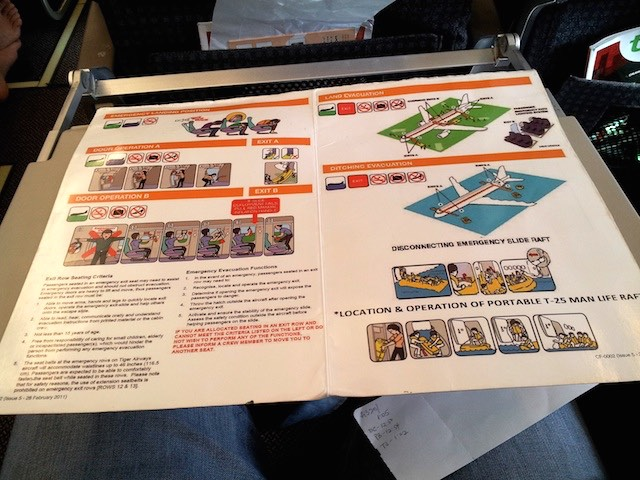 Tiger Airways Airbus A320 Safety Card Inside