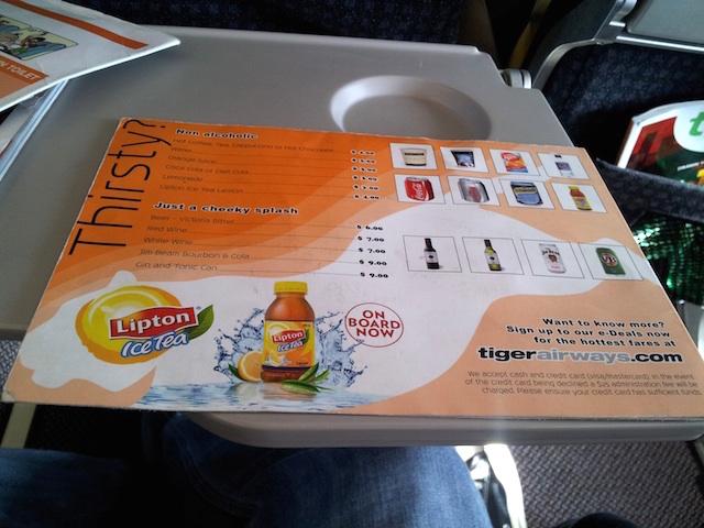 Tiger Airways Inside Menu