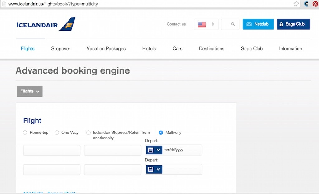 How To Book Low Fares - Icelandair Multi-City Screen