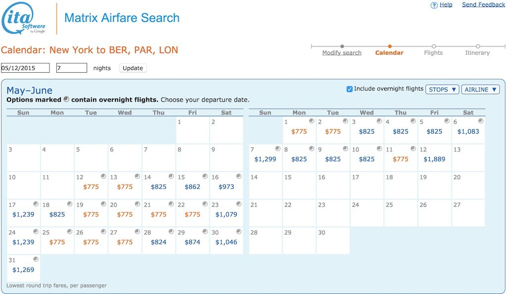 How To Book Low Fares - Using The ITA Software Matrix Calendar Fare Display