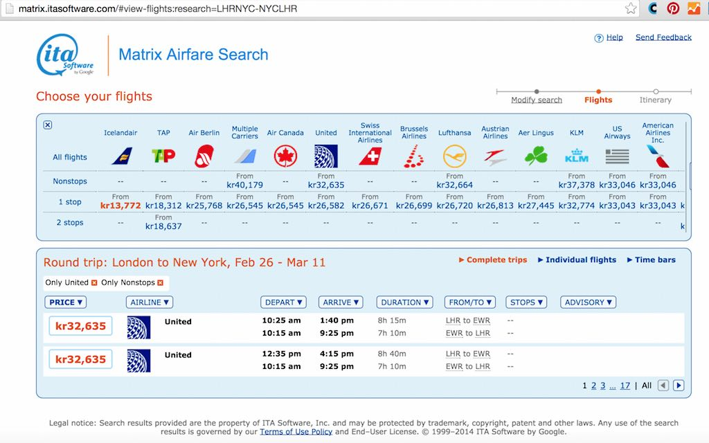 Mistake Fares - Current 'normal' fares from LHR to NYC 11 Feb 2015