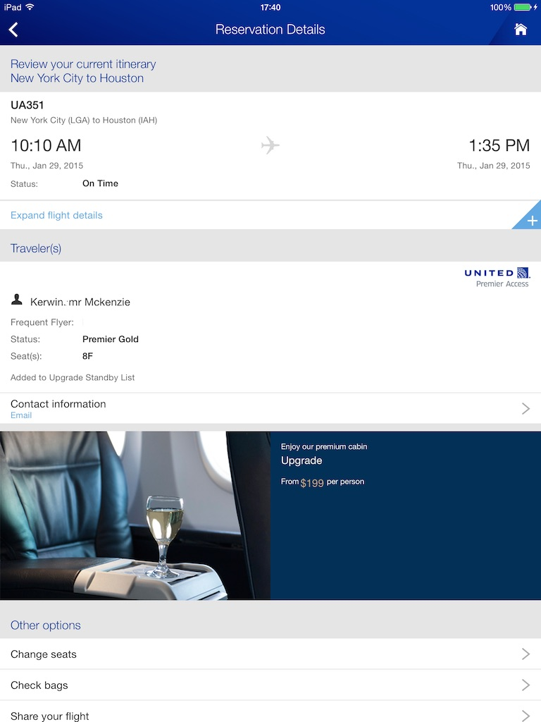 UA369 LGA to IAH - Upgrade Cost