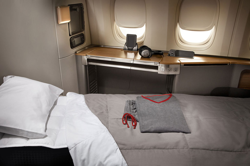 American Airlines Boeing 777-300ER First Class seat lie flat - compliments of American Airlines