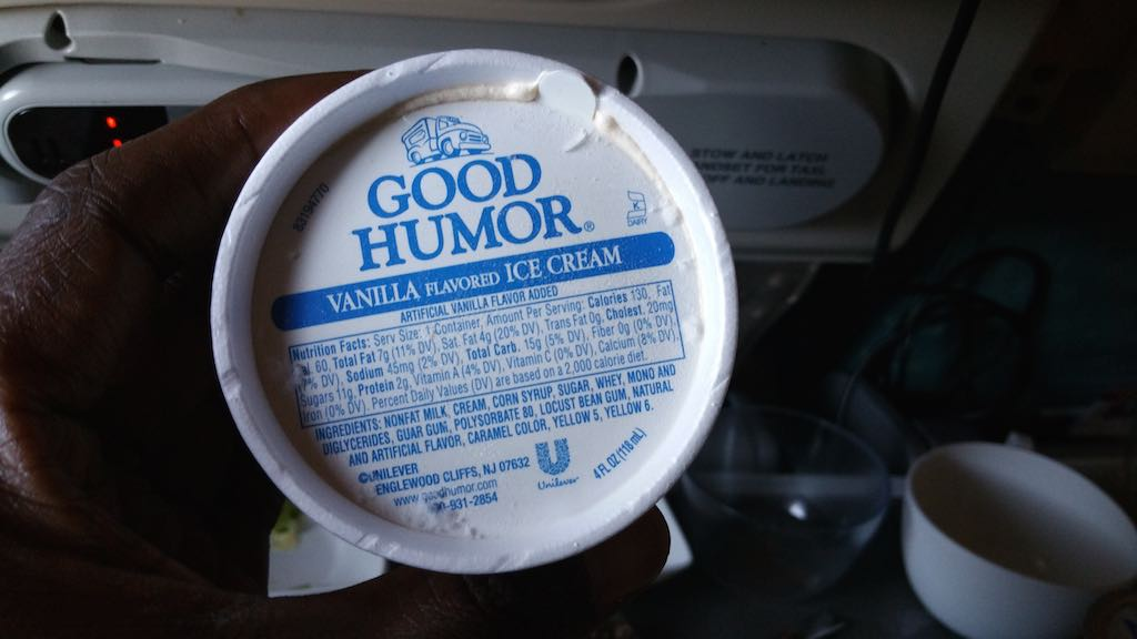 Singapore Airlines Vanilla ice cream