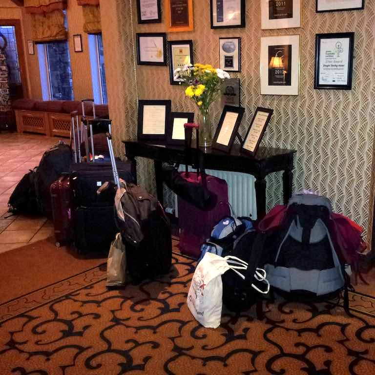 Bags in a hotel lobby