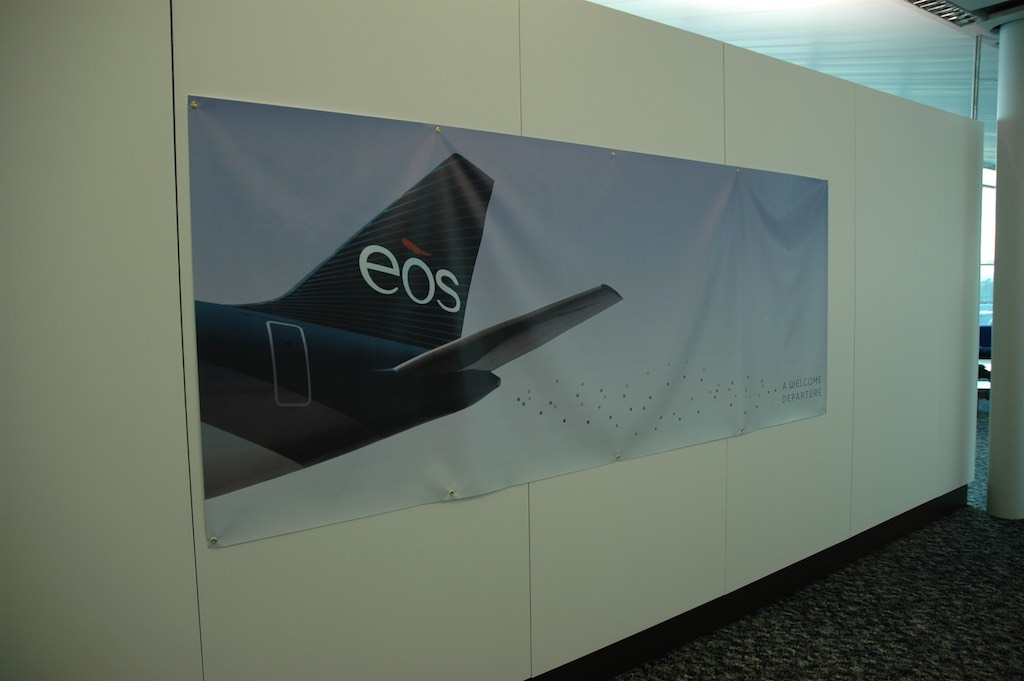 EOS Flight 1 - 23 Oct 2005 - Poster outside Lounge