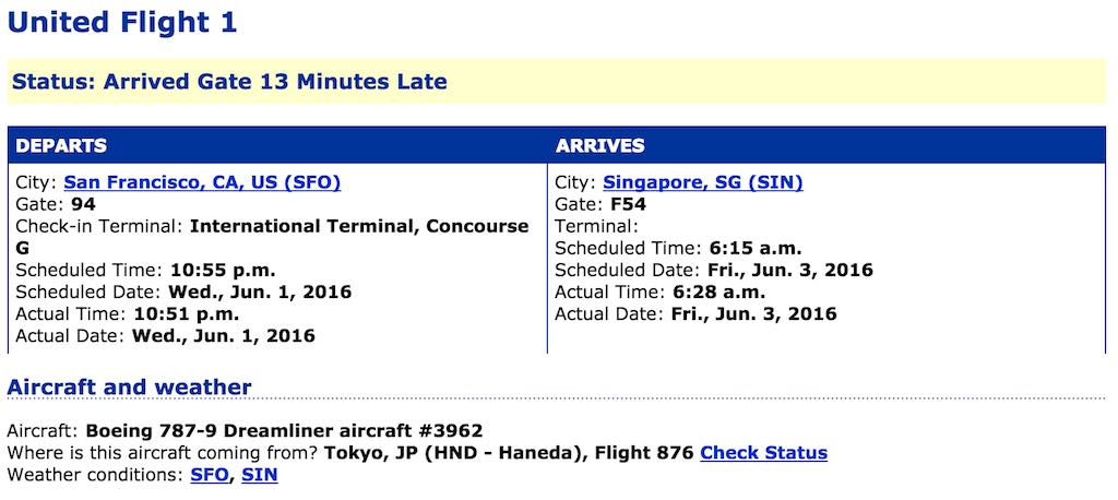 United 1: Flight Status. We had to fly around a few storms on the way in and that contributed to the arrival time.