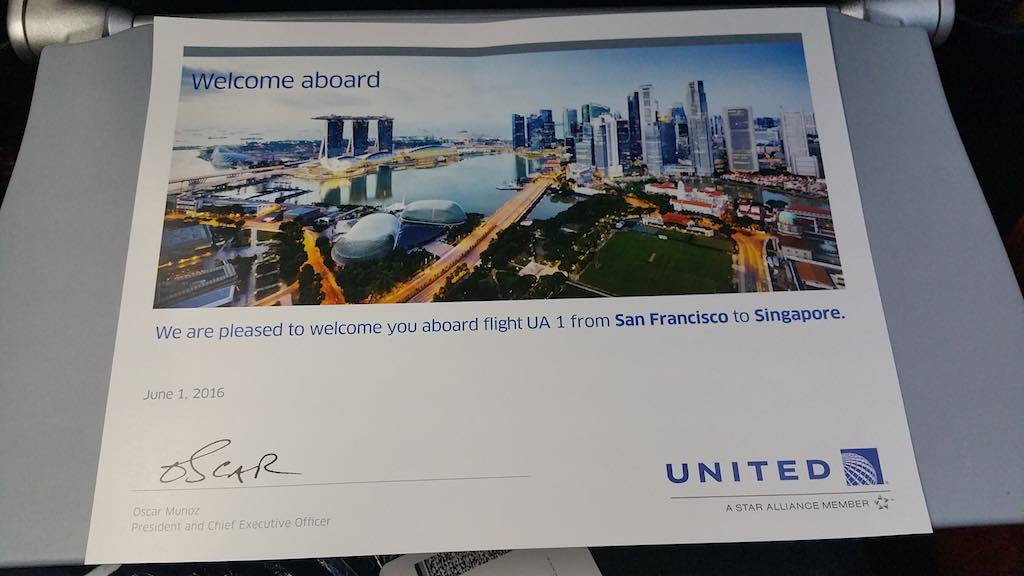 United 1: Welcome Certificate from Oscar Munoz President and CEO United Airlines