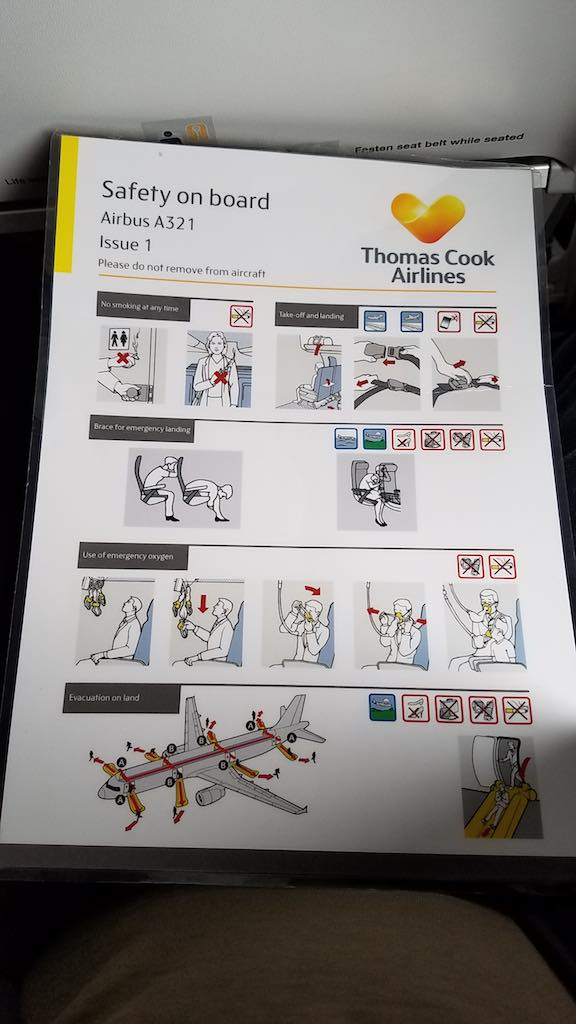 Thomas Cook Airlines Manchester to Tenerife Airbus A321 - Safety Card