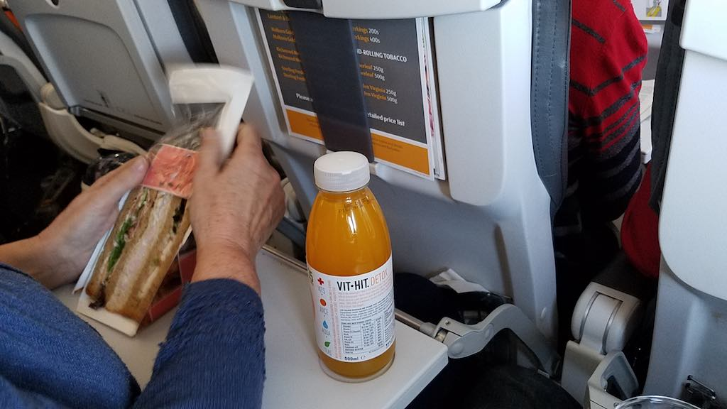 Thomas Cook Airlines Manchester to Tenerife Airbus A321 - Seatmate food