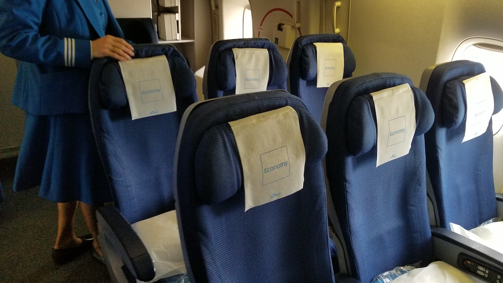 KLM Economy Class last rows on the Boeing 747-400 Combi middle seat