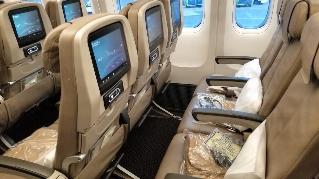 Saudia Economy Class cabin middle seat