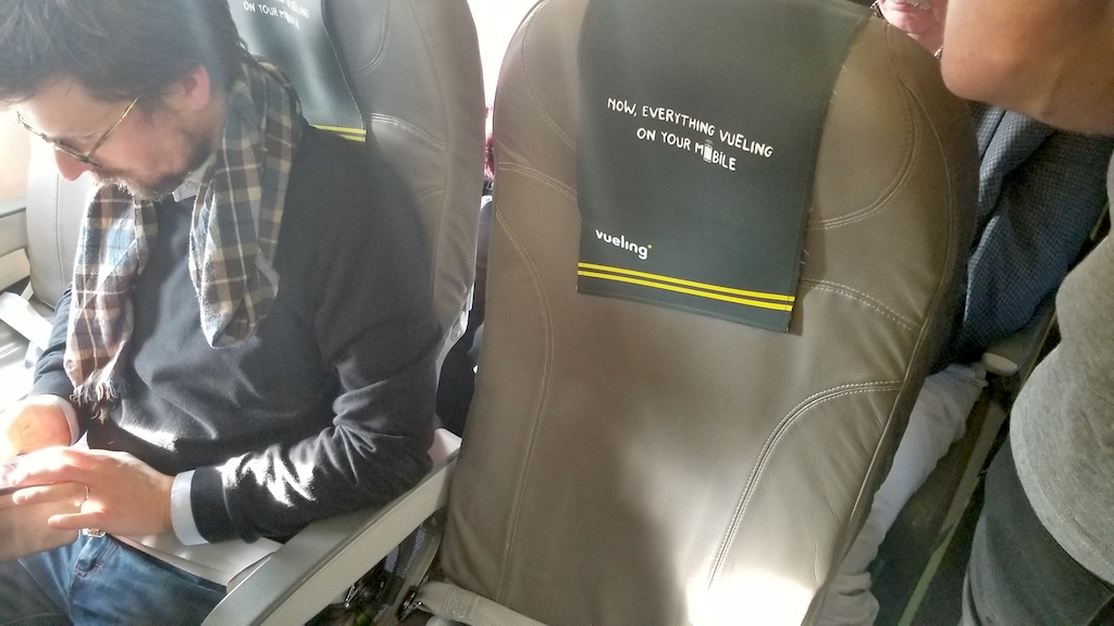 Vueling Airbus A320 passenger middle seat