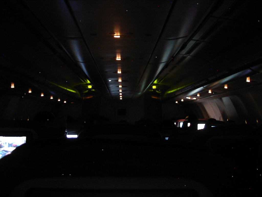 World's Longest Flight - Cabin at night, 30 June 2004 Newark (EWR) to Singapore (SIN)