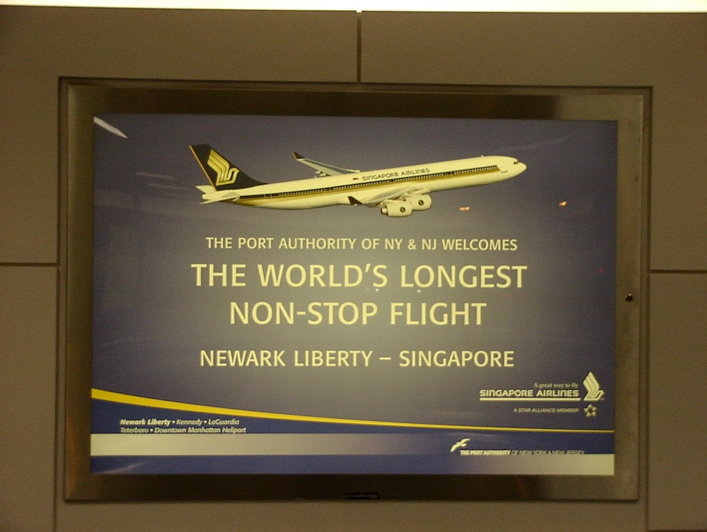 World's Longest Flight - Airport Ads, 30 June 2004 Newark (EWR) to Singapore (SIN)