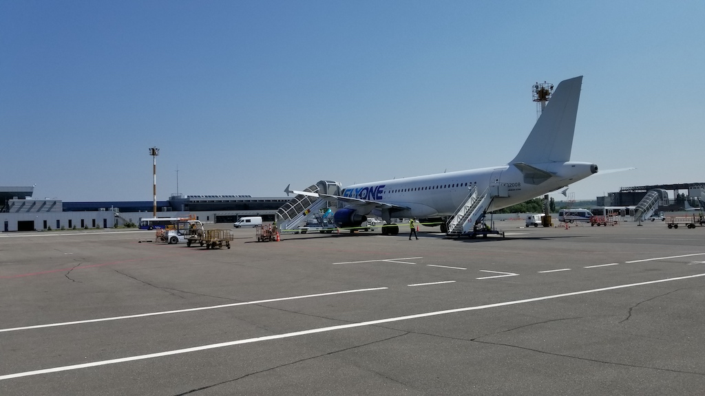 FlyOne - Airline Service Review of Chisinau, Moldova to Dublin, Ireland Airbus A320 On Ramp