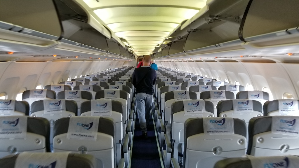 FlyOne - Airline Service Review of Chisinau, Moldova to Dublin, Ireland Airbus A320 Interior