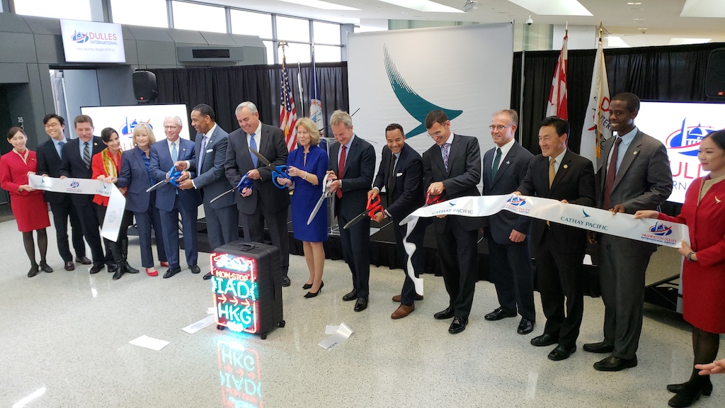 Cathay Pacific Business Class - Nonstop Washington-Dulles to Hong Kong Ribbon Cutting
