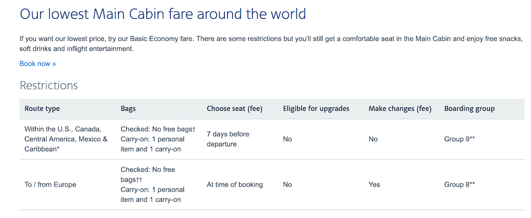 Basic Economy Rules for American Airlines