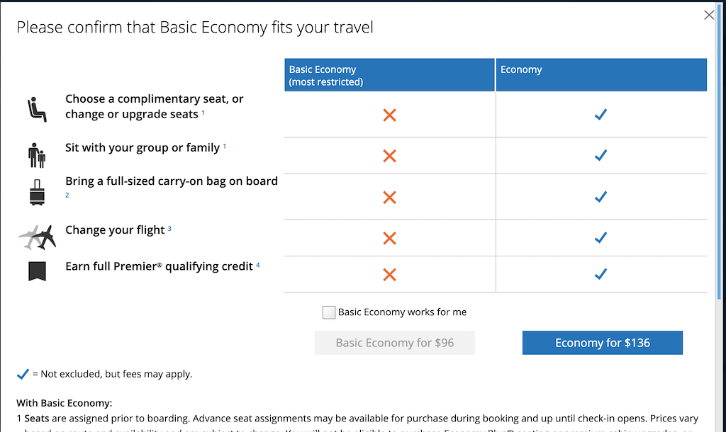Basic Economy Rules for United Airlines