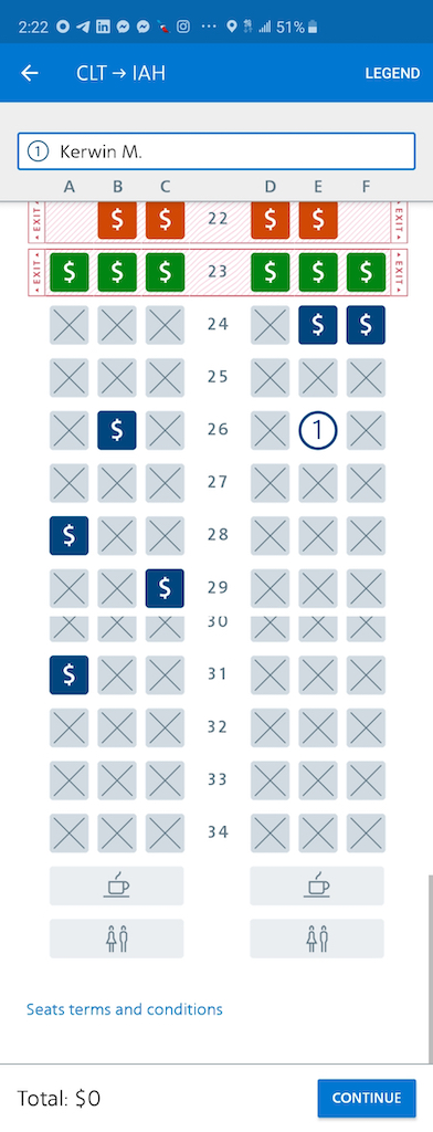 Charlotte to Houston on American Airlines Basic Economy Seat Map 26E