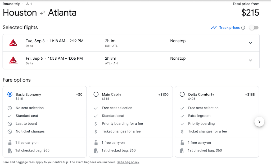 Houston to Atlanta on Delta Air Lines using Google Flights
