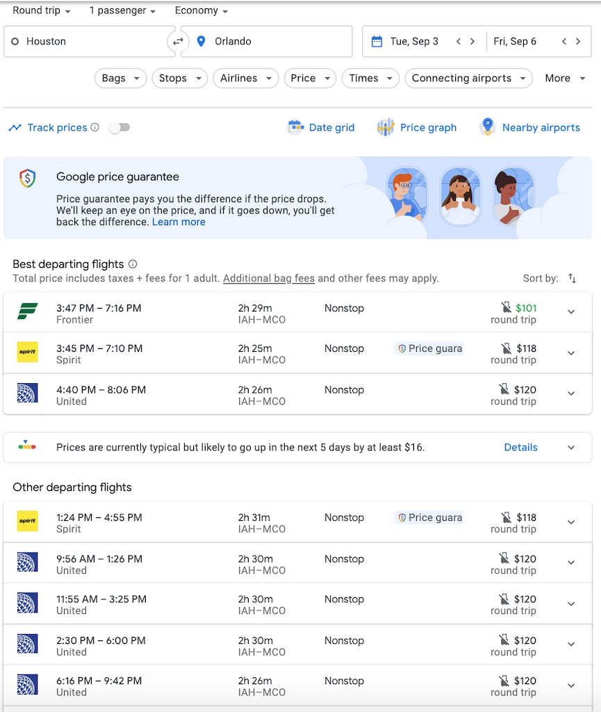 Houston to Orlando on Google Flights
