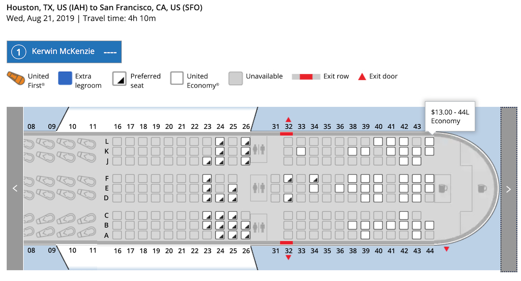 Houston to Paine Field via San Francisco on UA B777 seat prices 44L