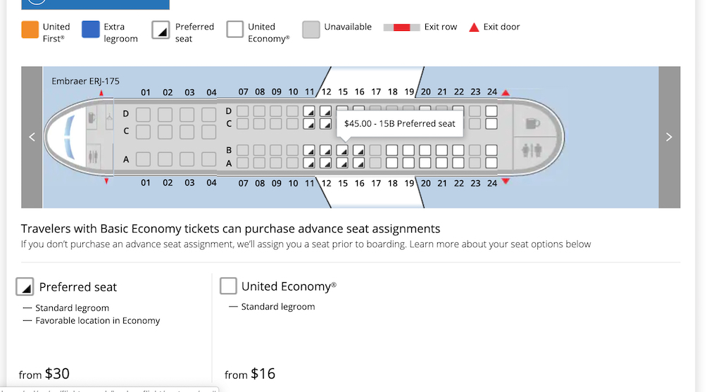 Houston to Paine Field via San Francisco on United Airlines ERJ175 seat prices