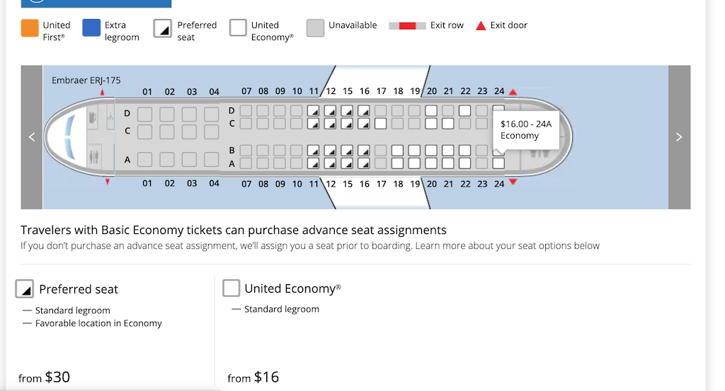 Houston to Paine Field via San Francisco on United Airlines ERJ175 seat prices 24A