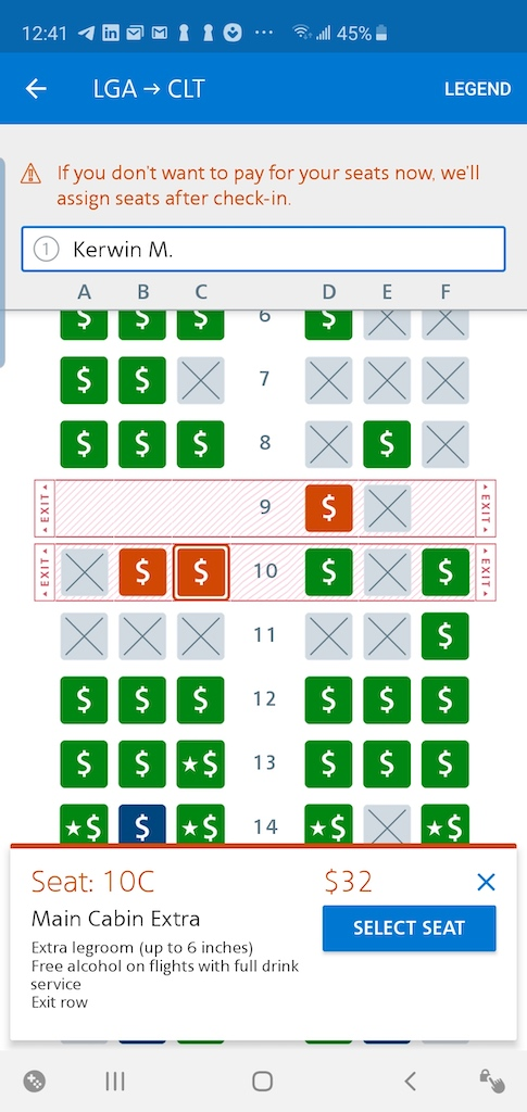 LaGuardia to Houston via Charlotte on American Airlines Basic Economy Seat 10C $32