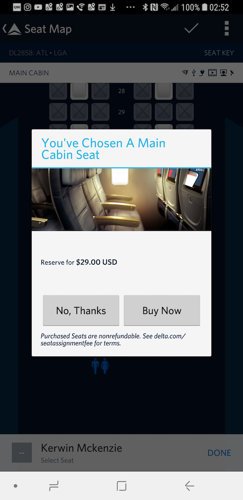 $29 seat on Delta Air Lines - Basic Economy Class