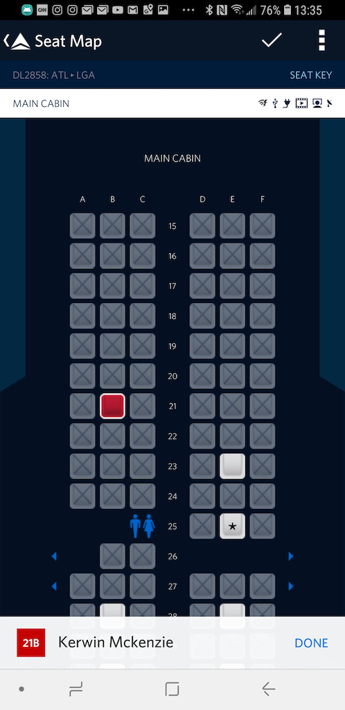 Middle seat - 21B Delta Air Lines Basic Economy Class